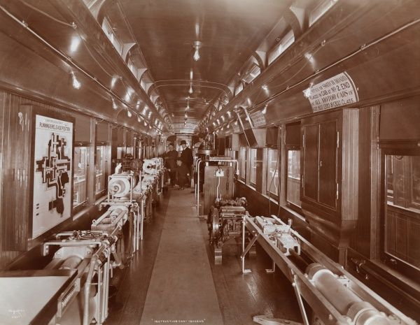Instruction Car. Interior. - Interior of a railroad instruction car of Brooklyn Rapid Transit; car is lined with equipment for instruction, four men are visible beyond