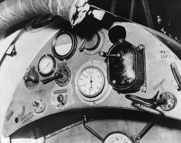 A close-up view of the instrument panel of the Hansa-Brandenburg DI (KD) 28.68 Phonix-built fighter plane in service during the First World War from 1917 onwards. This one is in a museum in Prague, Czechoslovakia. Date: circa 1917-1918