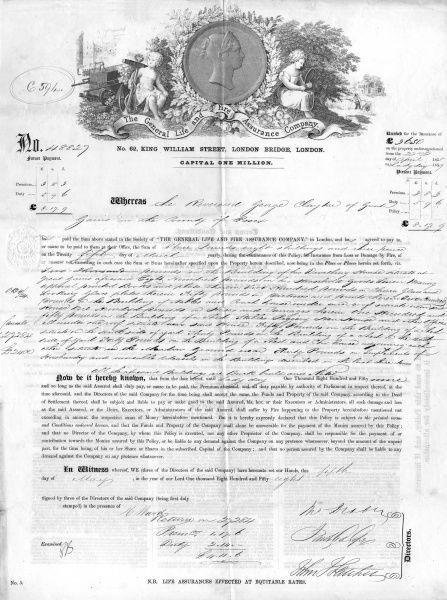 A nineteenth century insurance policy Date: 1858
