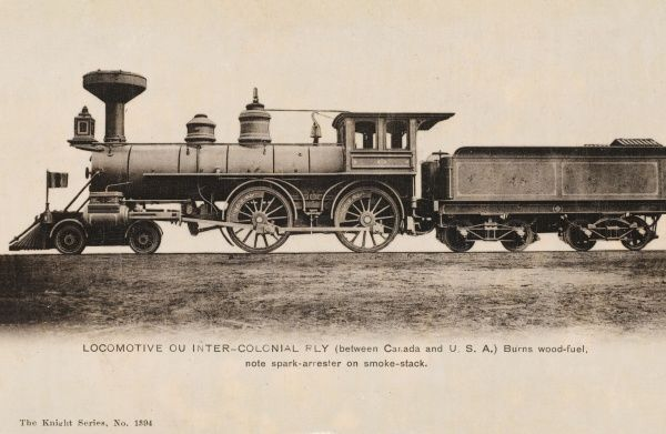 Train of the Inter-Colonial Railway running between Canada and America. Burns wood fuel and has a spark arrester on the smoke stack