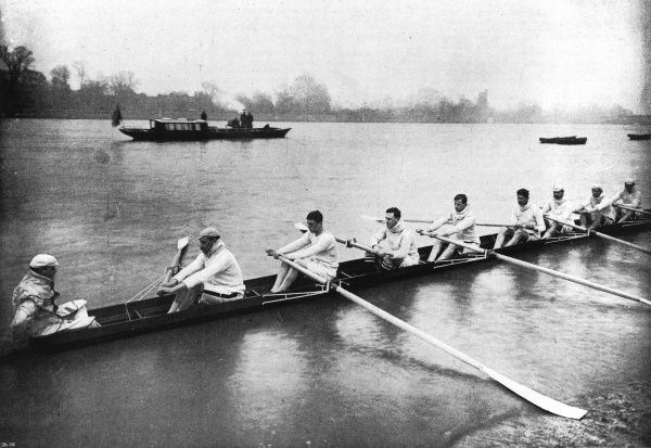 The Cambridge University rowing team practising prior to the Oxford versus Cambridge boat race in 1897