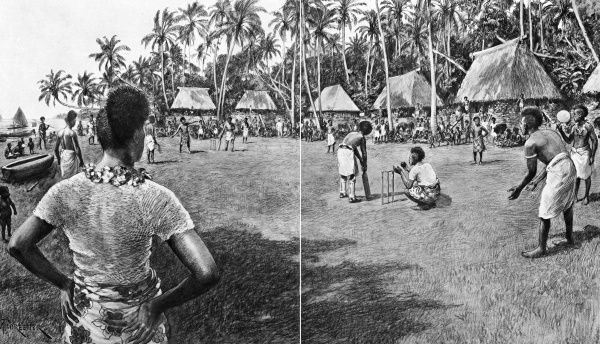 A scene from an inter-village cricket (or Kirikiti, as it was pronounced locally) match on the island of Fiji, as described in Lieut.-Colonel T.R.St-Johnston's book, 'South Sea Reminiscences'. In order to distinguish themselves from the opposition