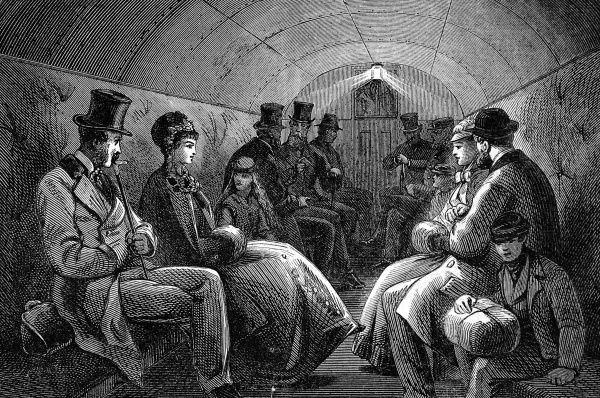 The interior carriage of the Thames Subway at Tower Hill. The underground railway ran from Tower Hill to Tooley Street