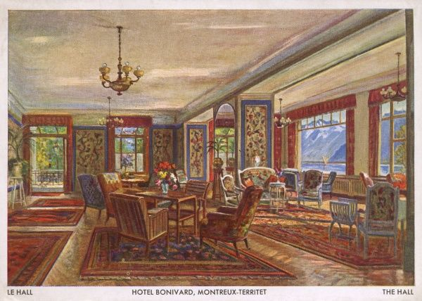 View of the spacious sitting room of the Hotel Bonivard, Montreux, Switzerland. Date: 1950s