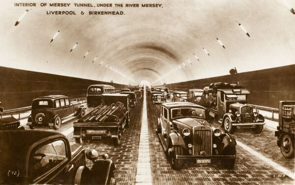 Interior of the Mersey Tunnel, under the River Mersey, Liverpool & Birkenhead