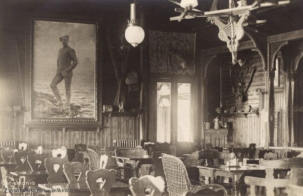 Interior of a Norwegian Sporting Club in Oslo (known as Christiania or Kristiania up to 1924) 'Holmenkollens' - with a fine portrait of renowned arctic explorer Fridtjof Wedel-Jarlsberg Nansen on the far wall. Date: circa 1910