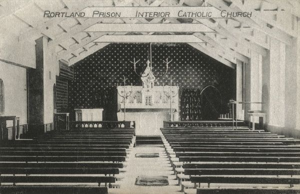 The interior of the Roman Catholic church at Portland Prison, Dorset. The prison opened in 1848 as a public works prison for convicts who were employed in quarries in the area