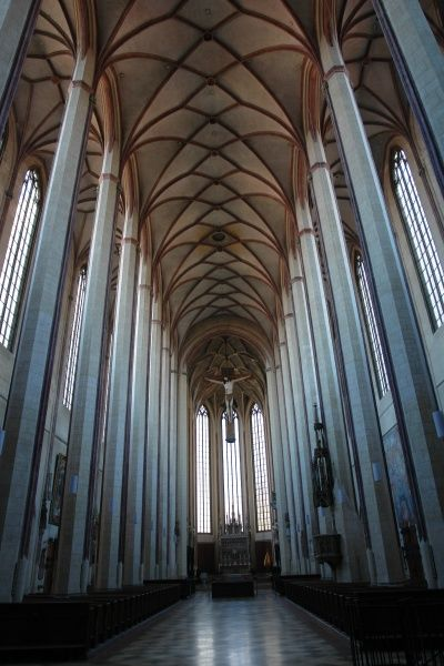 Gothic interior of the medieval St Martin's Church in Landshut, Lower Bavaria, Germany. Building began in 1389 and took over 100 years -- the tower alone took 55 years to build, and it is the highest brick building in the world at 130 metres