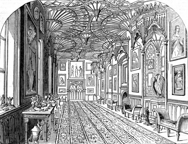 Engraving showing the hall of Strawberry Hill House, London, the Georgian Gothic former home of Horace Walpole, pictured in 1842