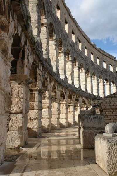 Interior view of the Roman amphitheatre at Pula, on the western coast of Istria, Croatia. It was built in the first century AD and is the best preserved ancient monument in Croatia. It is still used today as a theatre, film and concert venue