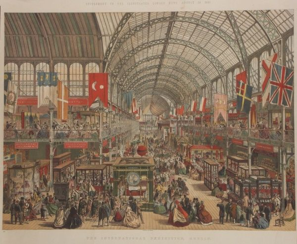 A large colour engraving by the Leighton brothers, issued as a special supplement by The Illustrated London News, depicting the International Exhibition at Dublin in 1865