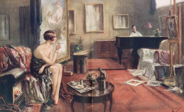 Colour illustration by Wilmot Lunt showing an artist's model in his studio taking a break while the artist plays the piano