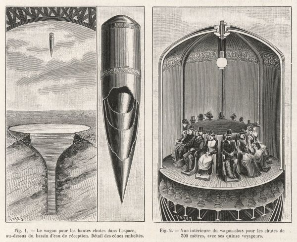 Mr. Carron, an engineer from Grenoble, France, invented a contraption that allowed humans to experience the sensation of a free fall of 300m! To achieve this, he conceived a bullet-like capsule with a height of approximately 10m, that contained a round room