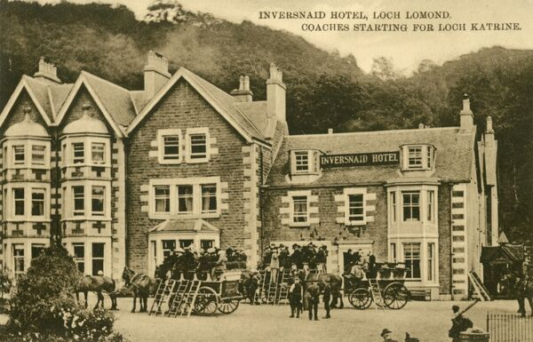Inversnaid Hotel, Loch Lomond, Scotland - coaches setting out for Loch Katrine