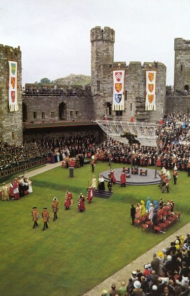 Investiture of Charles, Prince of Wales at Caernarvon Castle in 1969 with a good view of the perspex canopy specially designed for the event by Lord Snowdon. Date: 1969