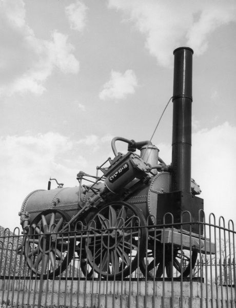 The 'Invicta' steam locomotive built by George Stephenson, used on the Canterbury and Whitstable Railway, the first regular steam passenger railway in the world
