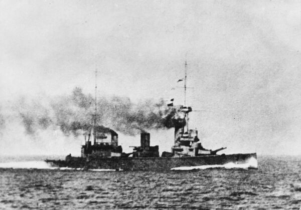An Invincible or Indefatigable class Battlecruiser, which served in the Royal Navy and the Royal Australian Navy during World War I