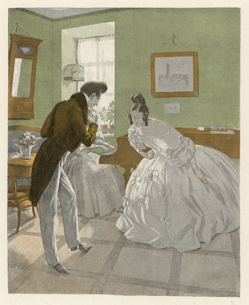 A gentleman of the romantic era invites a lady to dance : she accepts his invitation with a graceful bow