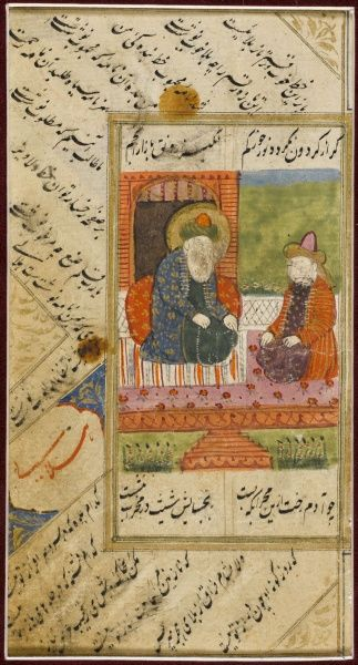 Page from a book of Sunni devotional poetry, scribed in nasta'liq script from northern India or eastern Persia. The miniature may show a teacher giving instruction