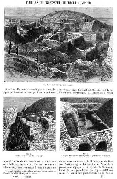 A general, and two detailed views of exacavations at Nippur, an important Sumerian religious centre. Professor Hilprecht dug here in the late 19th century. Date: 1897