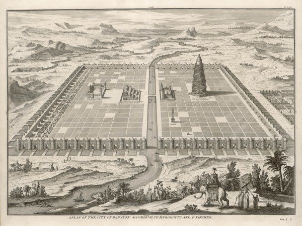 The city of BABYLON, after the descriptions by Herodotus and Kircher ; the 'hanging gardens' are in the centre, the Tower on the right : the Euphrates runs round the city