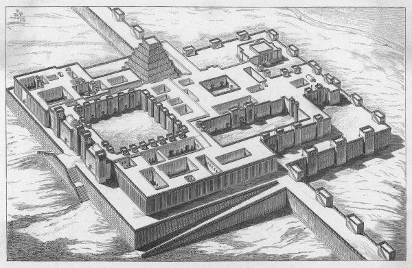 A reconstruction of the Palace of Sargon II at Dur-Sharrukin (Khorsabad). Paul Emile Botta and Victor Place both dug at Khorsabad in the mid-19th century