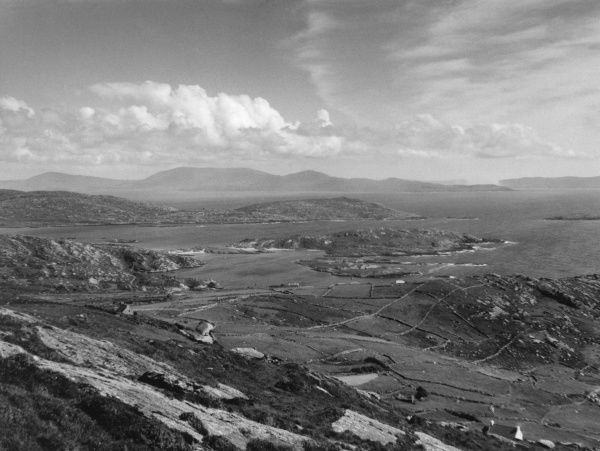 A coastal scene, showing Dursey Island Head, from the slopes of Cahernageela Mountain, County Kerry, Ireland. Date: 1950s