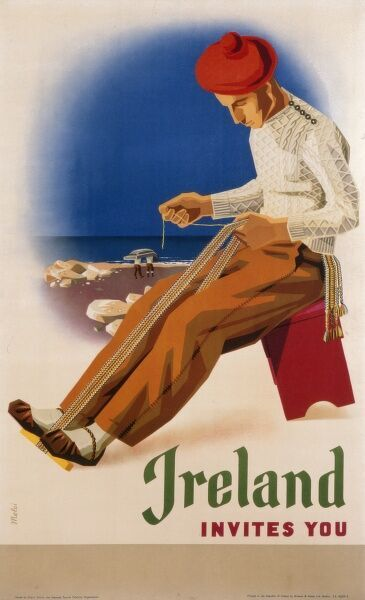 Poster promoting Ireland as a holiday destination showing a fisherman seated on a stool at a harbour intent on making a fishing net
