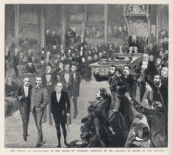 By order of the Speaker, Charles Stewart Parnell is removed from the House of Commons by the sergeant-at- arms for obstruction