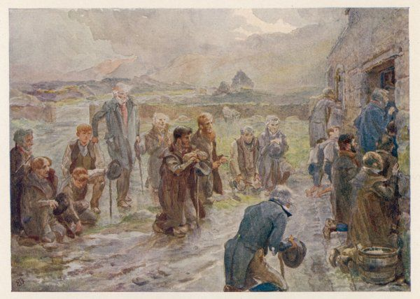 Irish countryfolk at a rustic chapel in County Kerry