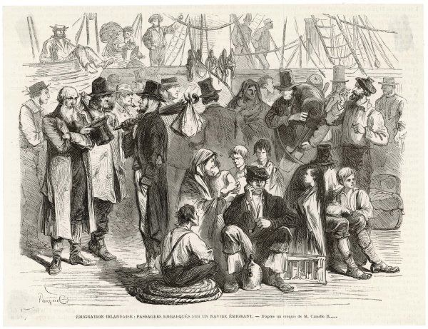 Irish emigrants on board the steamship which will carry them to a new life in America