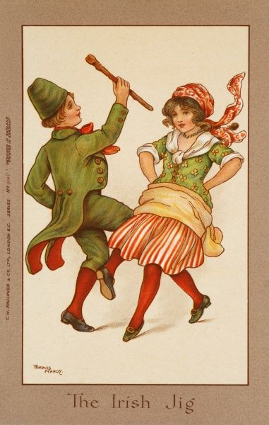 Two children, in traditional Irish costume, dance a lively jig