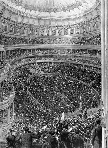Engraving showing a view, from the gallery, of the Irish Loyalist Demonstration at the Royal Albert Hall, London, 1893. The audience/demonstraters shown were protesting against any possibility of Home Rule for Ireland