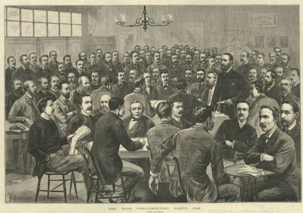 The Irish Parliamentary party (also called the Irish Party or Home Rule Party) was formed in 1882 by Charles Stewart Parnell. It's principal objectives were legislative independence for Ireland and land reform. Parnell can be seen standing