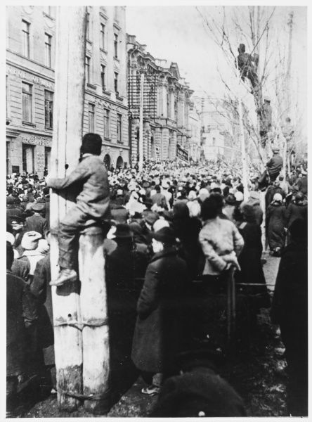 The February Revolution spreads from Petrograd across the country - this street demonstration is at Irkutsk in Siberia