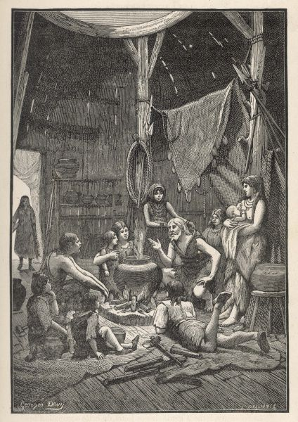 A domestic interior of the Iron Age where the head of the family gathers everyone together round the fire to hear about his travels