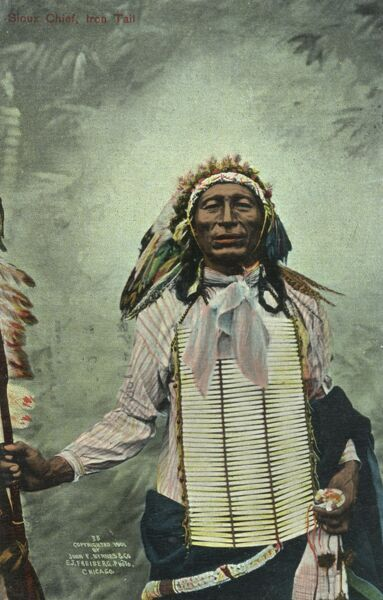 Iron Tail - Chief of the Sioux Tribe in his full ceremonial traditional costume Date: 1901