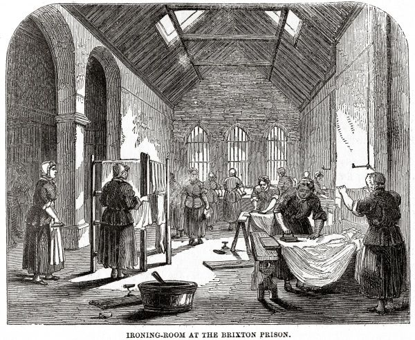Ironing room at Brixton Prison. Date: 1862