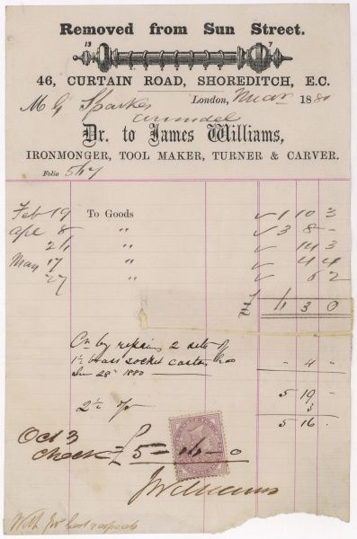 James Williams, ironmonger, of Shoreditch