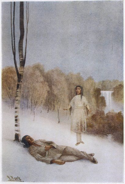 Nekumonta, collapses in the snow whilst searching for a rememdy for his sick wife; he dreams of the healing waters of the Great Manitou who sing to him