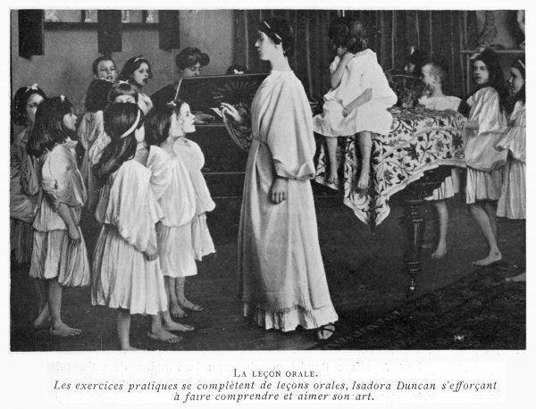 ISADORA DUNCAN at her school at Grunewald, near Berlin, where she teaches children to dance in the Greek manner (3 of 4)