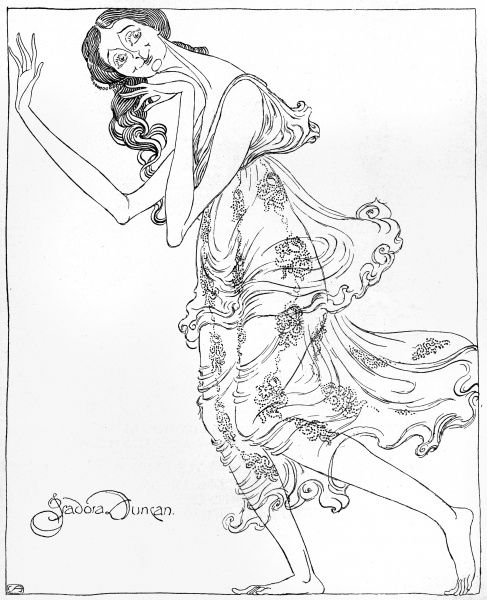 ISADORA DUNCAN American dancer: a satirical view Date: 1878 - 1927