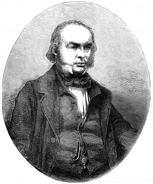 Engraved portrait of Isambard Kingdom Brunel (1806-1859), the English engineer and inventor, pictured in 1858