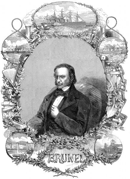 Engraved portrait of Isambard Kingdom Brunel (1806-1859), the English engineer and inventor, pictured c