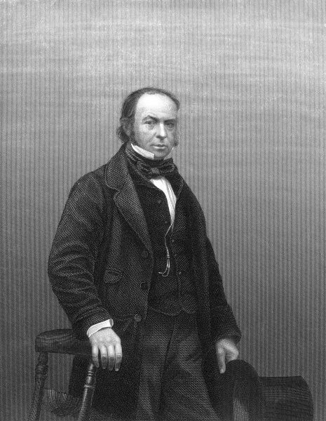 Engraved portrait of Isambard Kingdom Brunel (1806-1859), the English engineer and inventor, pictured c.1855