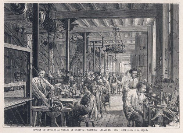 Workers at the Isaura Metalworks, Barcelona