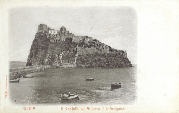 Ischia, Italy - Castello Aragonese, the Castle of Alfonso I of Aragon Date: circa 1905