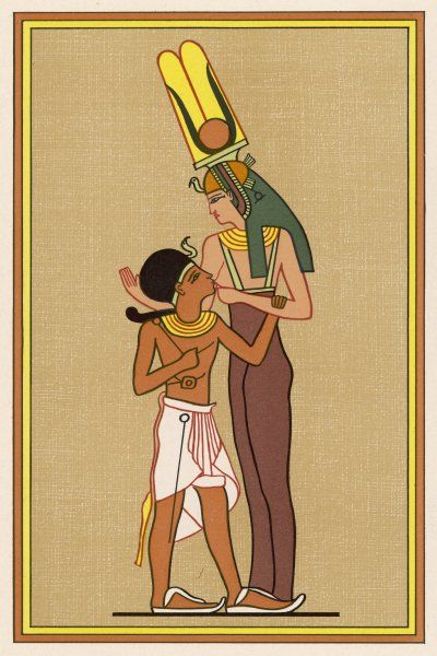 Isis is known by many different names : here she's calling herself MERSEKERT (or Mersekhent) but that's still her son Horus she's feeding