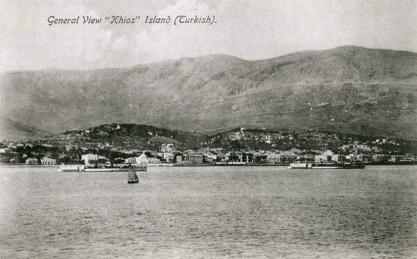 A general view of the Island of Chios, at this point under Ottoman Turkish control. The island is in the Aegean Sea only 5 miles off the coast of Asia Minor