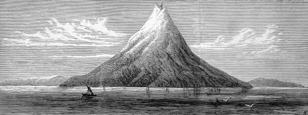 Island of Krakatoa, in the straits of Sunda. The volcano erupted 4 times in 1883. The blast was estimated to have had the power of 10000 hydrogen bombs and caused tidal waves that devastated many neighbouring Indonesian islands